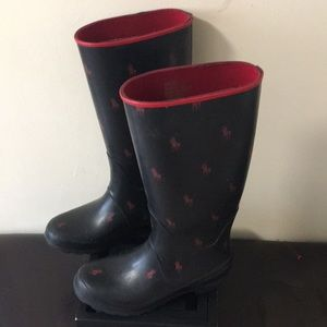 Black with red polo horse rubber boots